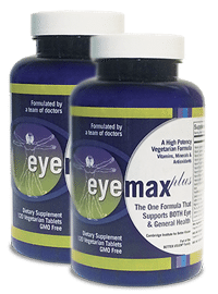 Two large bottles of EYEMAX-plus, a high potency formula that is rich in vitamins, minerals and antioxidants.
