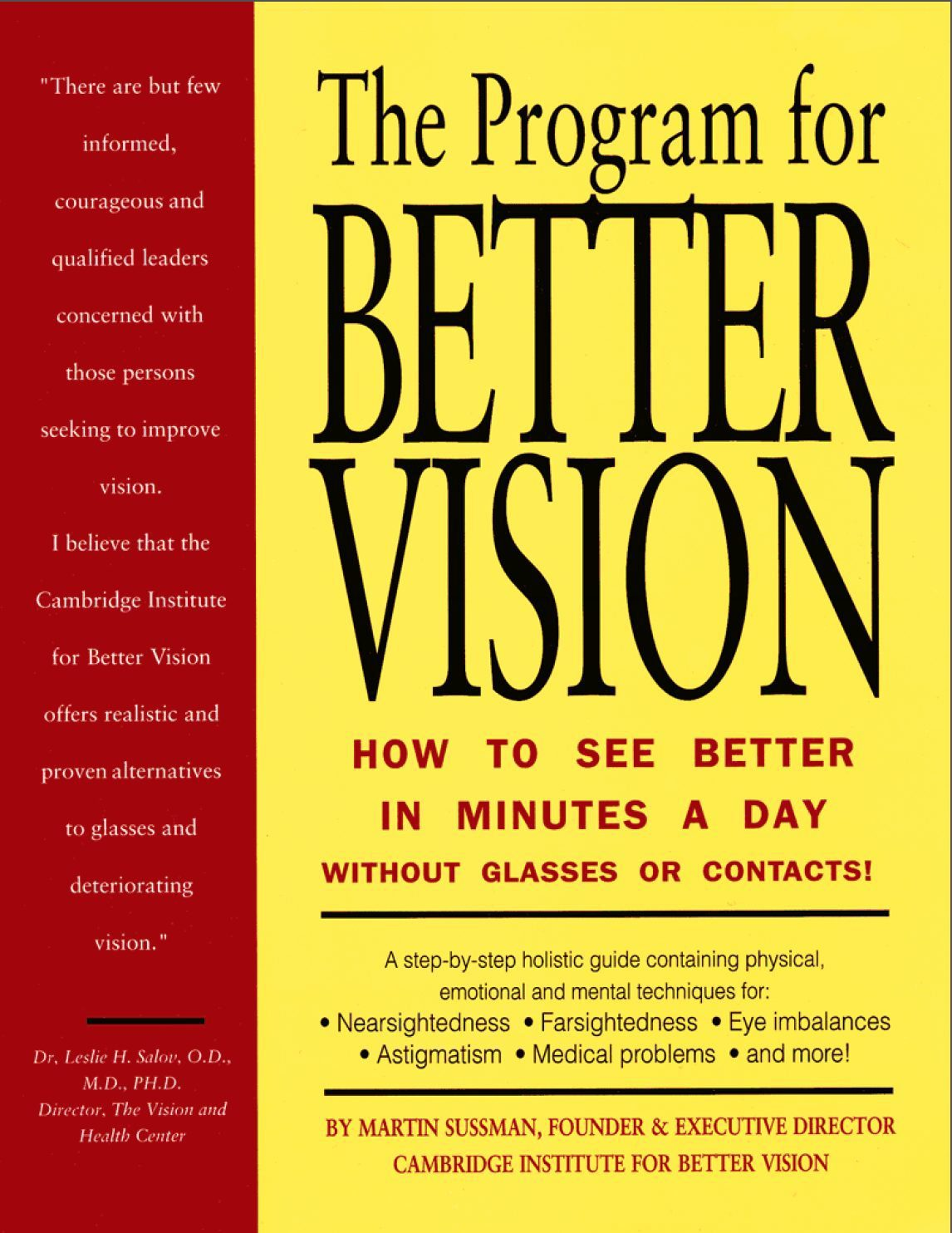 The Program for Better Vision Book: Beyond Eye Exercises to Improve Vision